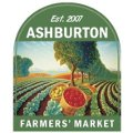 stylishly retro Ashburton Farmers' Market logo featuring fields of produce receding gracefully into the background and baskets of fresh delicious produce in the foreground.