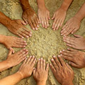 a circle of hands on a sandy beach - via http://www.earth-policy.org
