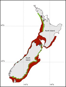 The map shows Hector and Maui dolphin distribution in red and protected areas in green. Forest & Bird wants to increase the current protection to include all areas where these rare dolphins are found.
