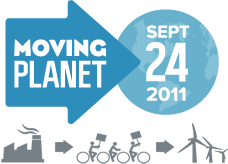 The Moving Planet 2011 logo with blue arrow and text