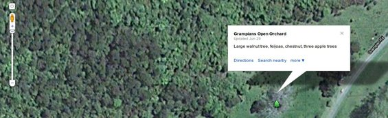 Screen shot of the Open Orchards map on Google Maps