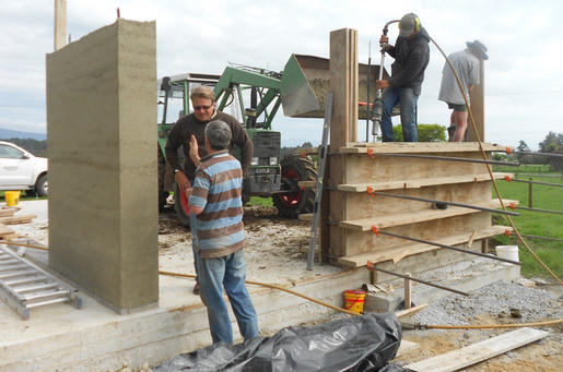 Rammed earth house under construction