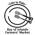 Bay of Islands Farmers' Market logo with 'Gate to Plate' moto