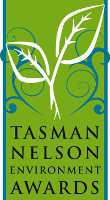 Tasman Nelson Environment Awards logo with green plant and leaf patterns