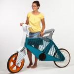 Designer Dror Peleg with her Frii plastic bike