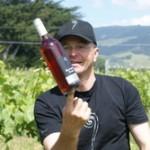Lars balancing a very light wine bottle